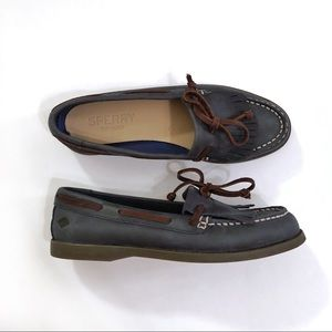 Sperry Shoes - Sperry Prima Fringe blue brown leather boat shoes
